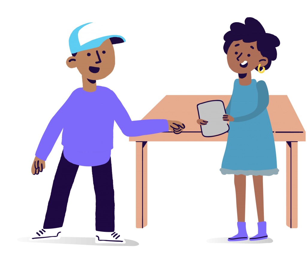 Boy and girl at desk