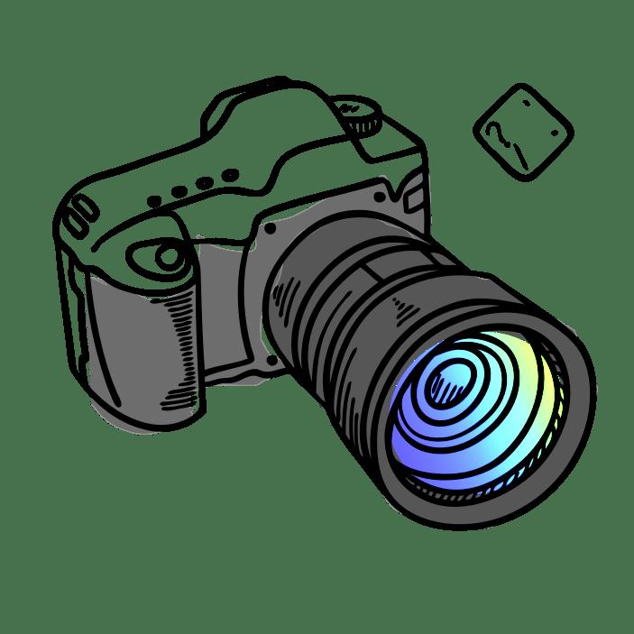 Drawing of an SLR camera