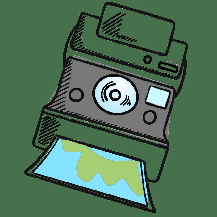 Drawing of a Polaroid Camera