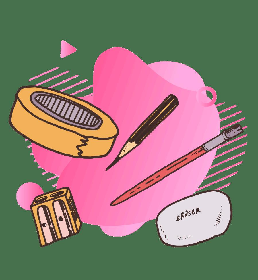 Drawing of craft tools