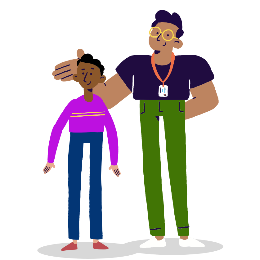 Illustration of adult facilitator supporting young researcher
