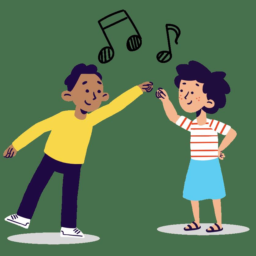 Illustration of two children dancing