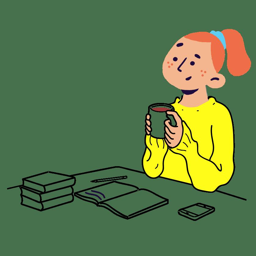 Girl writing a diary